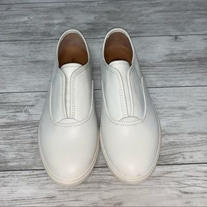 Frye White Leather Slip On Sneakers 8.5 NWOT